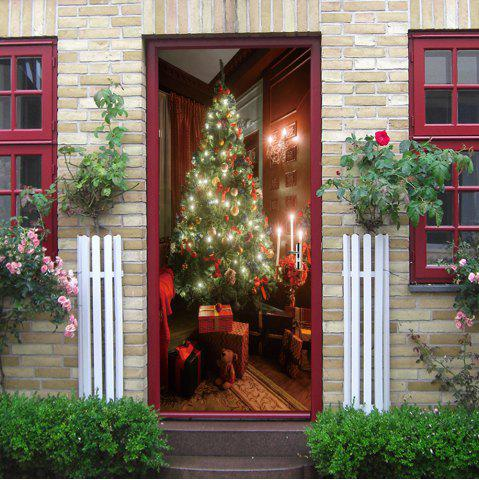 Cheap Christmas Tree Present Pattern Door Cover Stickers