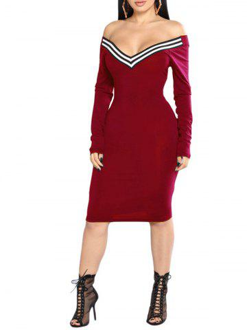 Plunging Neck Striped Embellished Bodycon Dress