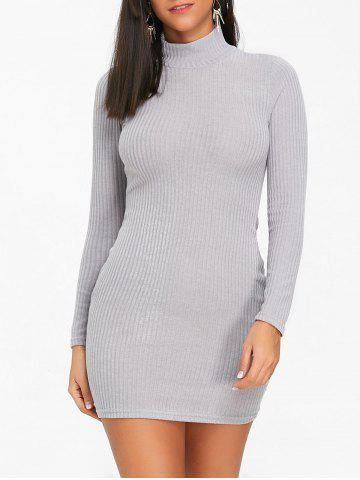 Affordable High Neck Mini Knit Bodycon Dress