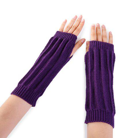 Trendy Stripe Pattern Hollow Out Fingerless Knitted Arm Warmers