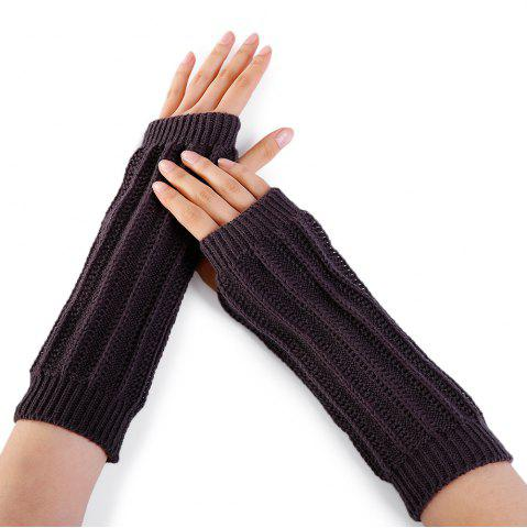 Fashion Stripe Pattern Hollow Out Fingerless Knitted Arm Warmers