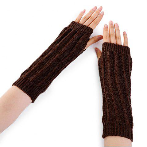 Sale Stripe Pattern Hollow Out Fingerless Knitted Arm Warmers