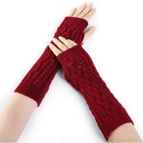 Cheap Tree Branch Decorated Hollow Out Exposed Finger Knitted Gloves