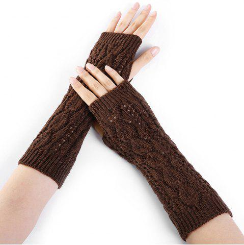 Shops Tree Branch Decorated Hollow Out Exposed Finger Knitted Gloves