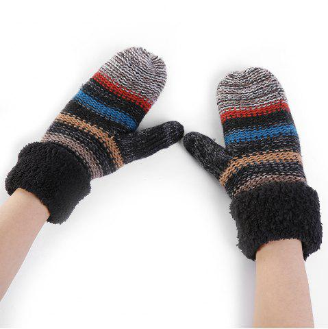 Sale Pair of Striped Pattern Colormix Crochet Knitted Gloves