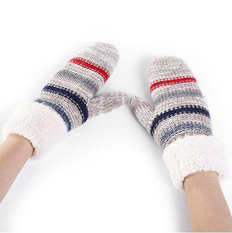 Chic Pair of Striped Pattern Colormix Crochet Knitted Gloves