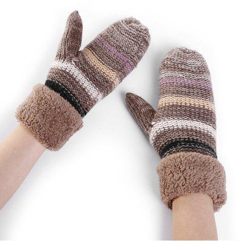 Outfits Pair of Striped Pattern Colormix Crochet Knitted Gloves