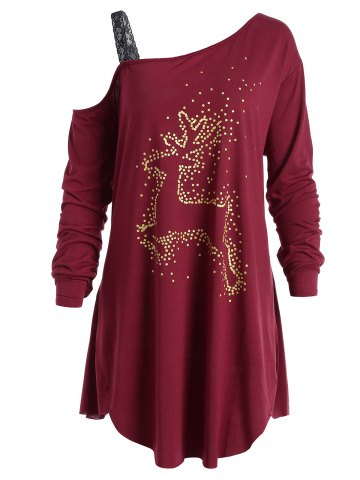 Unique Christmas Reindeer Plus Size Long Sleeve Tunic T-Shirt