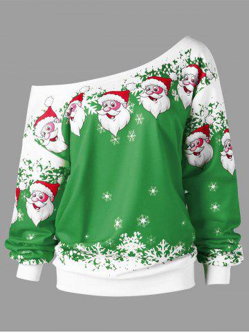 Latest Christmas Plus Size Skew Collar Santa Claus Sweatshirt