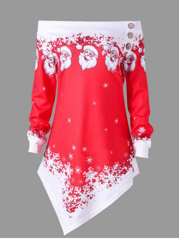 Fashion Plus Size Christmas Off The Shoulder Asymmetrical Sweatshirt