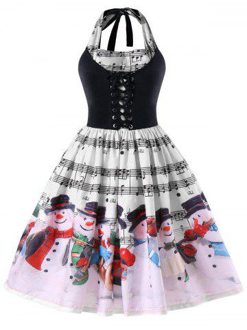 Outfit Christmas Plus Size Music Notes Halter Neck Dress