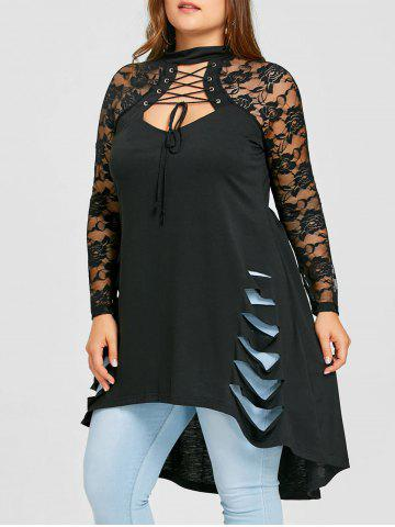 Trendy Plus Size Lace Trim Shredding Tunic Top