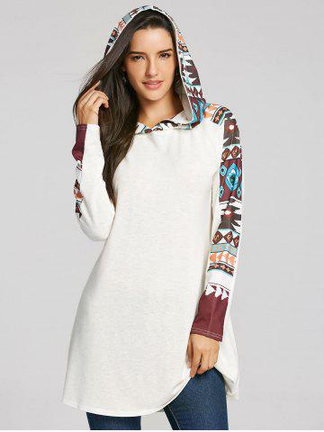 Online Tribal Totem Print Panel Hooded Knit Top