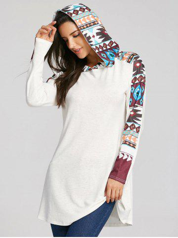 Tribal Totem Print Panel Hooded Knit Top