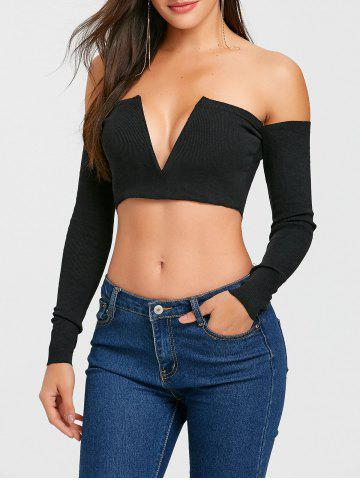 Latest V Cut Long Sleeve Strapless Crop Top