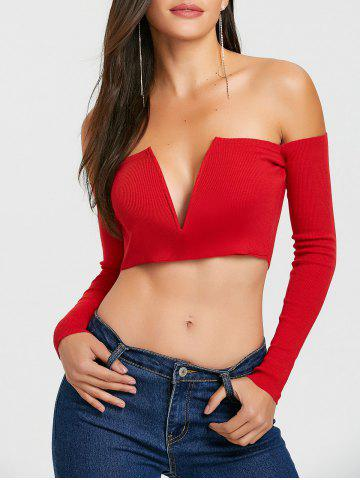 Shops V Cut Long Sleeve Strapless Crop Top