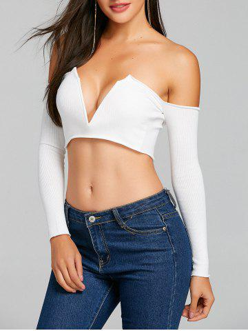 Chic V Cut Long Sleeve Strapless Crop Top