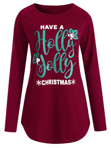 Hot Graphic Plus Size Christmas  Long Sleeve Tee