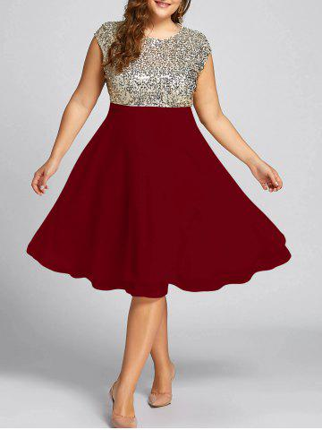 Wine Red Xl Flounce Plus Size Sparkly Sequin Cocktail Dress