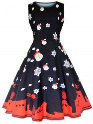 Vintage Christmas Sleeveless Party Dress -