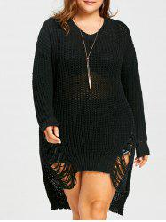 Plus Size High Low  Chunky Ripped Sweater -