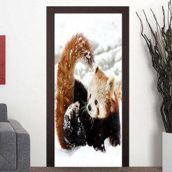 Red Panda Playing Snow Pattern Door Stickers -