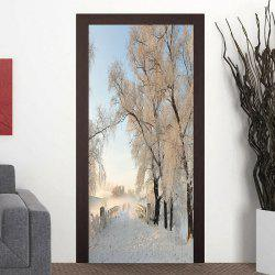 Stickers de couverture de porte décorative modèle Snowscape -