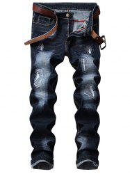 Zip Fly Straight Leg Distressed Jeans -