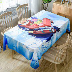 Christmas Sleigh Gifts Print Fabric Waterproof Tablecloth -