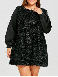 Plus Size Rhinestone Detail Fuzzy Mini Dress -