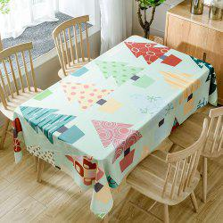 Christmas Cartoon Trees Print Fabric Waterproof Tablecloth -