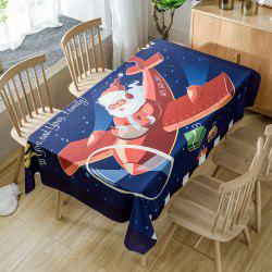 Santa Claus Drives a Plane Pattern Waterproof Table Cloth -