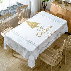 Christmas Theme Greetings Print Fabric Waterproof Tablecloth -