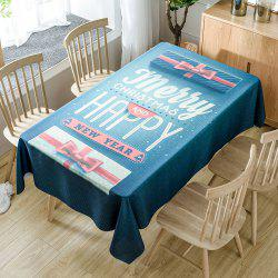Christmas Greeting Word Print Waterproof Fabric Table Cloth -