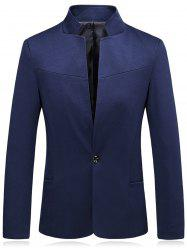 Stand Collar Slim Fit One Button Blazer -