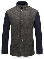 Color Block Padded Single Breasted Woolen Blazer -