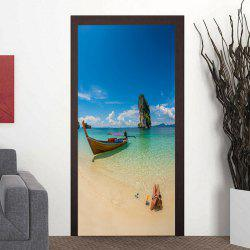 Boat in Seaside Pattern Door Art Stickers -