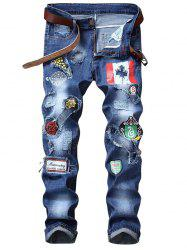 Flag Graphic Print Distressed Jeans -