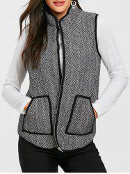 Zip Up Tweed стеганый жилет -