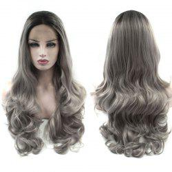 Long Center Parting Layered Wavy Ombre Lace Front Synthetic Wig -