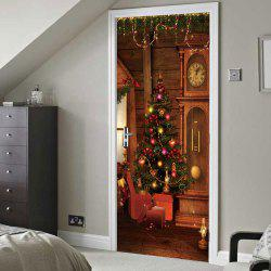 Christmas Tree Clock Pattern Door Cover Stickers -