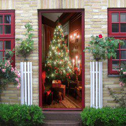 Christmas Tree Present Pattern Door Cover Stickers -