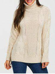 Cable Knitted Turtleneck Slit Sweater -