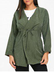 Drawstring Tunic Open Front Coat -