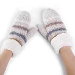 Pair of Striped Pattern Colormix Crochet Knitted Gloves -