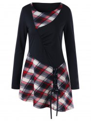 Plaid Panel Lace Up Long Sleeve Tunic T-shirt -