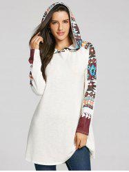 Tribal Totem Print Panel Hooded Knit Top -