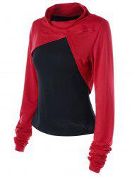 Plus Size Thumb Holes Two Tone Top - Red With Black - 3xl