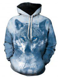 Sweat à Capuche Pull-over avec 3D Loup Imprimé - Multicolore L