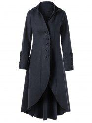 Lace Up Button Cuff Hooded Coat -
